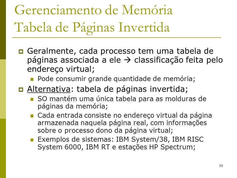 10 Gerenciamento de Memória Tabela de Páginas Invertida Geralmente, cada processo tem uma tabela de páginas associada a ele classificação feita pelo e