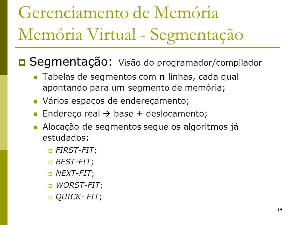 14 Gerenciamento de Memória Memória Virtual - Segmentação Segmentação: Visão do programador/compilador Tabelas de segmentos com n linhas, cada qual ap
