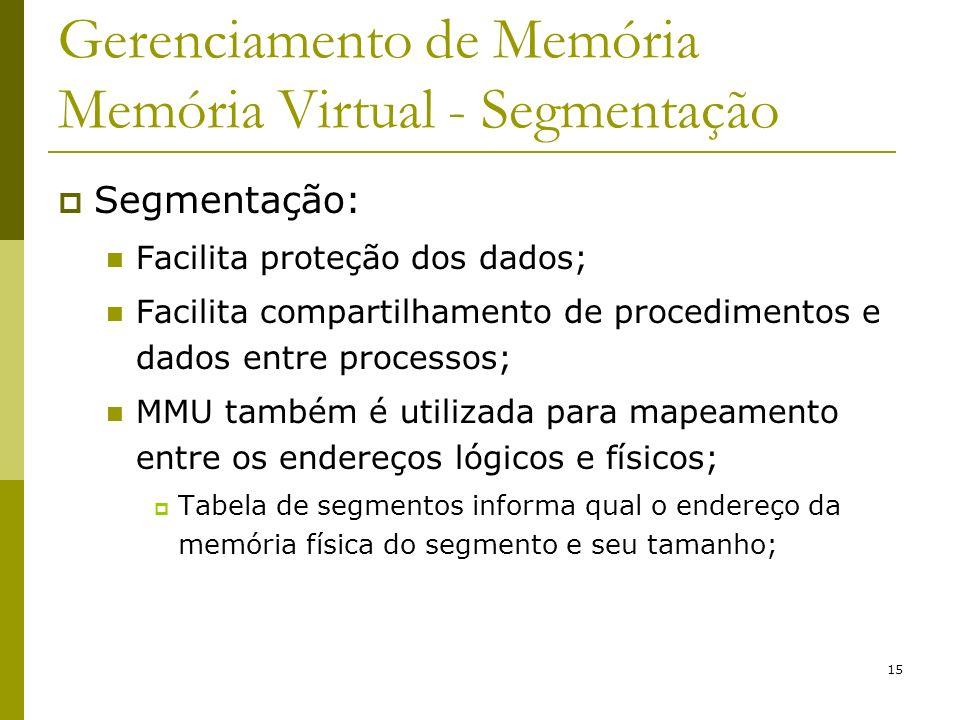 15 Gerenciamento de Memória Memória Virtual - Segmentação Segmentação: Facilita proteção dos dados; Facilita compartilhamento de procedimentos e dados
