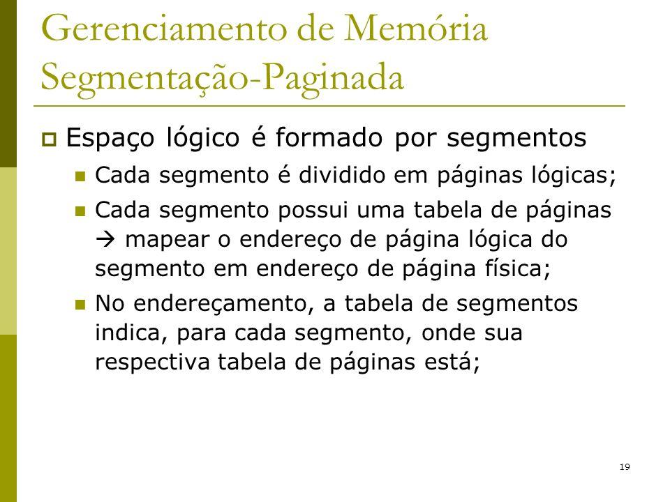 19 Gerenciamento de Memória Segmentação-Paginada Espaço lógico é formado por segmentos Cada segmento é dividido em páginas lógicas; Cada segmento poss