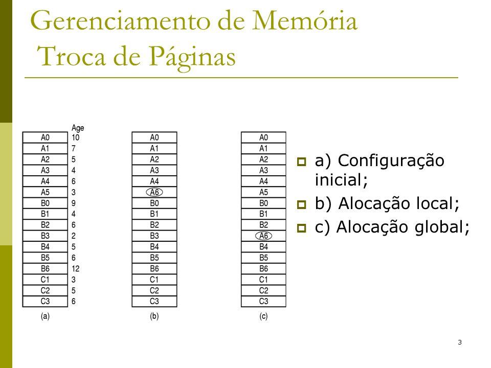 14 Gerenciamento de Memória Memória Virtual - Segmentação Segmentação: Visão do programador/compilador Tabelas de segmentos com n linhas, cada qual apontando para um segmento de memória; Vários espaços de endereçamento; Endereço real base + deslocamento; Alocação de segmentos segue os algoritmos já estudados: FIRST-FIT; BEST-FIT; NEXT-FIT; WORST-FIT; QUICK- FIT;