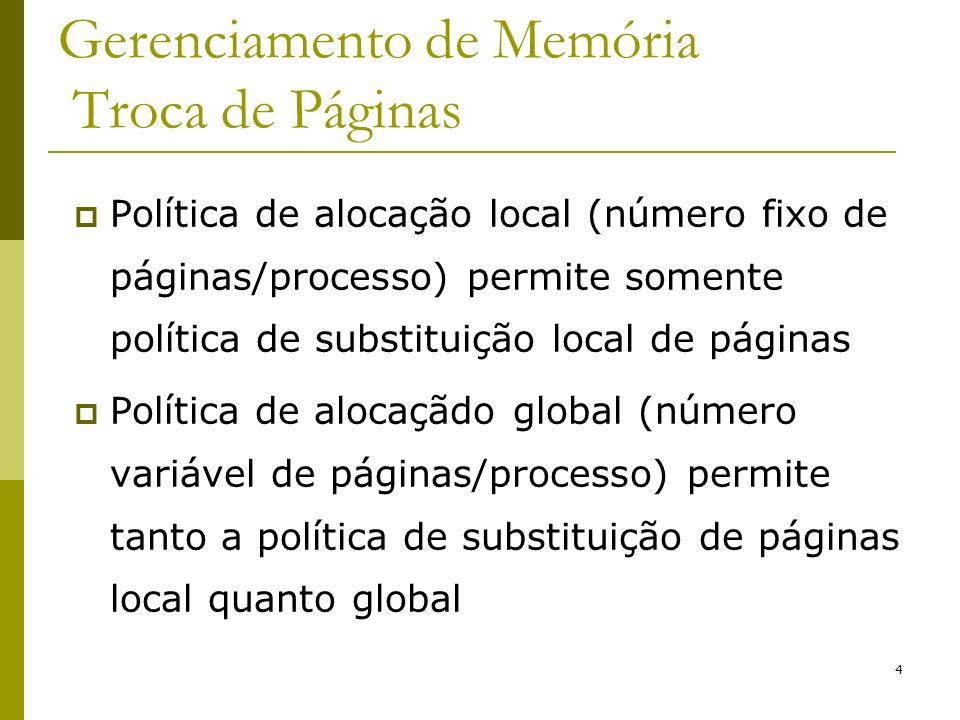 5 Gerenciamento de Memória Troca de Páginas - Paginação Algoritmos de substituição local: Working Set; WSClock; Algoritmos de substituição local/global: Ótimo; NRU; FIFO; Segunda Chance; LRU; Relógio;