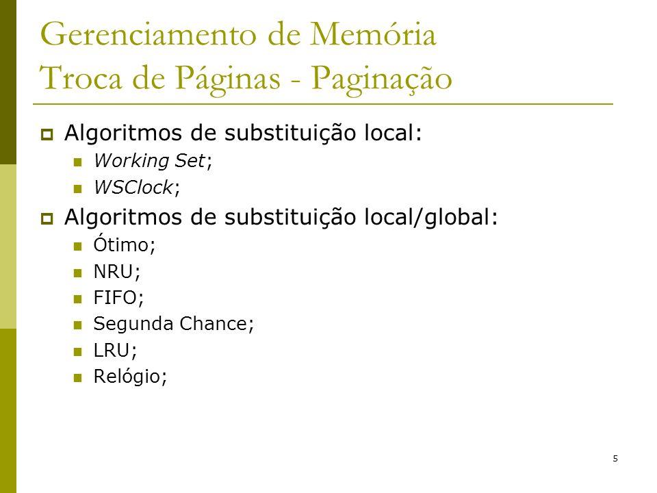 5 Gerenciamento de Memória Troca de Páginas - Paginação Algoritmos de substituição local: Working Set; WSClock; Algoritmos de substituição local/globa