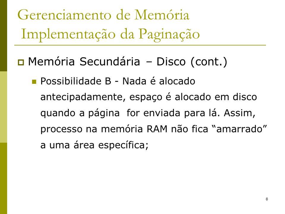 8 Gerenciamento de Memória Implementação da Paginação Memória Secundária – Disco (cont.) Possibilidade B - Nada é alocado antecipadamente, espaço é al