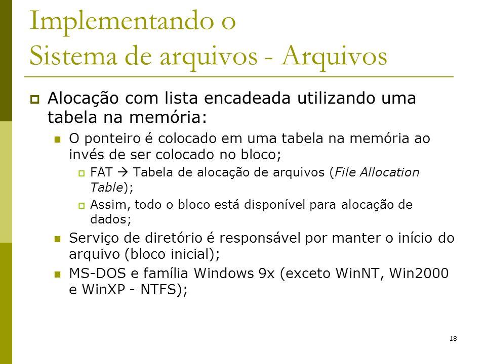 18 Implementando o Sistema de arquivos - Arquivos Alocação com lista encadeada utilizando uma tabela na memória: O ponteiro é colocado em uma tabela n