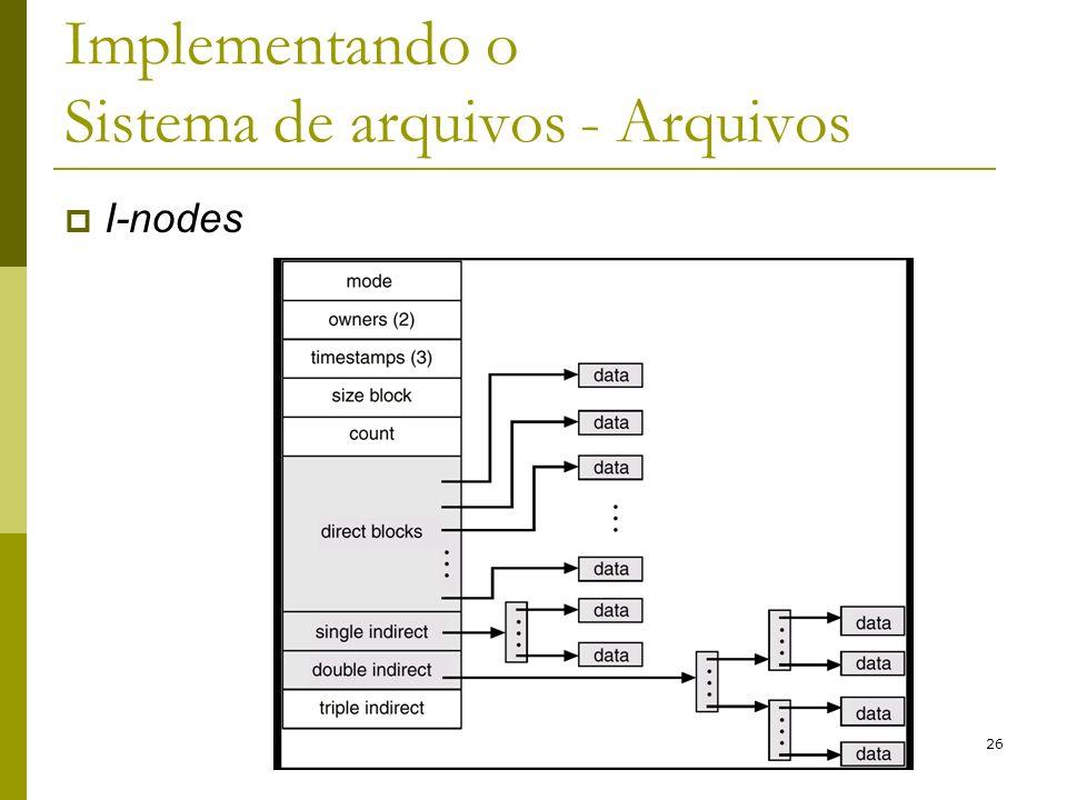 Implementando o Sistema de arquivos - Arquivos I-nodes 26