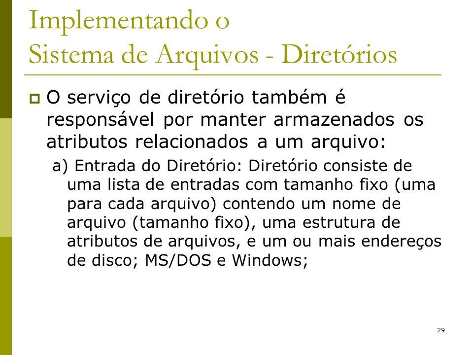 29 Implementando o Sistema de Arquivos - Diretórios O serviço de diretório também é responsável por manter armazenados os atributos relacionados a um