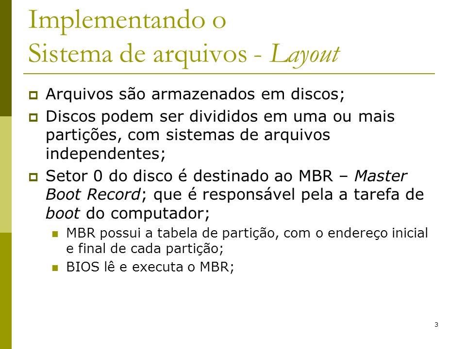 3 Implementando o Sistema de arquivos - Layout Arquivos são armazenados em discos; Discos podem ser divididos em uma ou mais partições, com sistemas d
