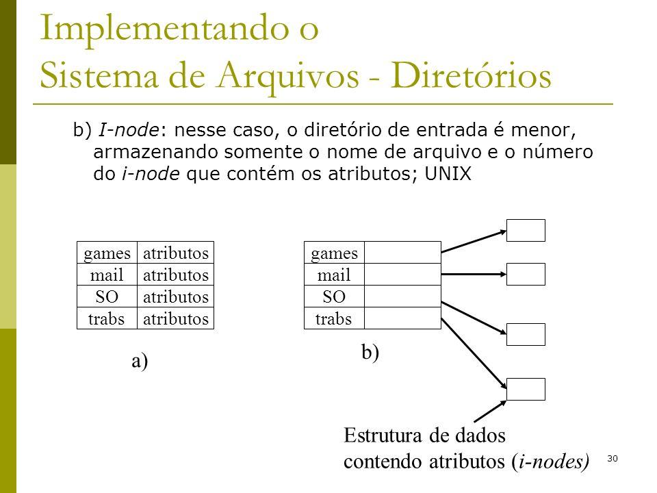 30 Implementando o Sistema de Arquivos - Diretórios b) I-node: nesse caso, o diretório de entrada é menor, armazenando somente o nome de arquivo e o n