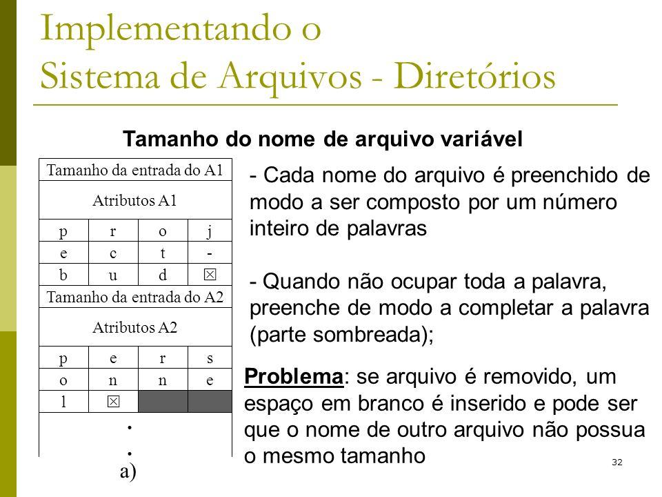 32 Implementando o Sistema de Arquivos - Diretórios Tamanho da entrada do A1 Atributos A1 pjor b du e-tc Tamanho da entrada do A2 Atributos A2 psre l