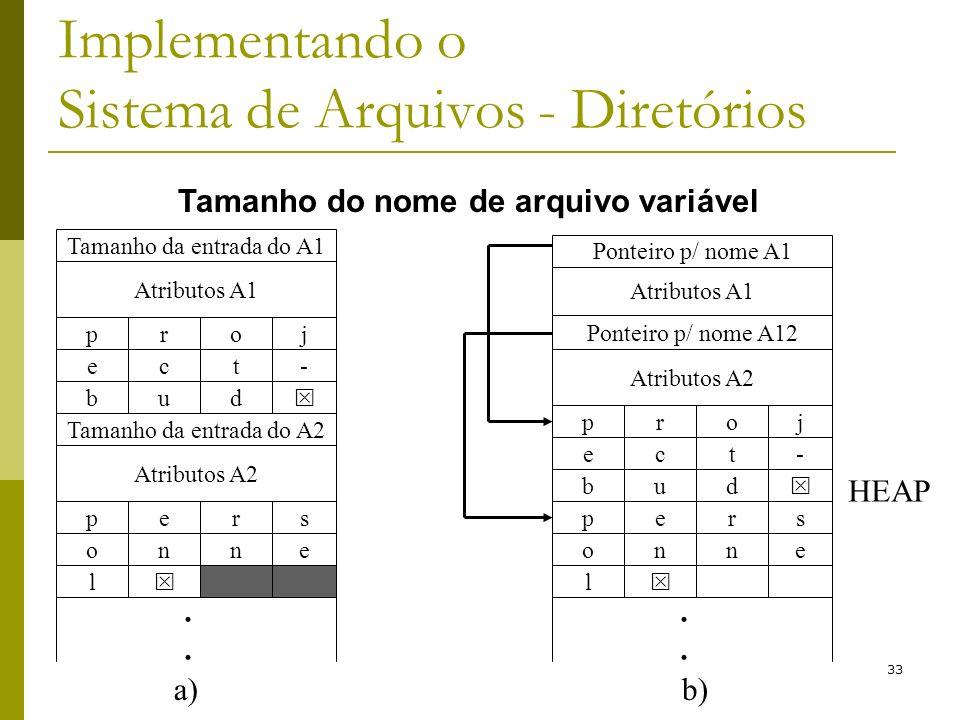 33 Implementando o Sistema de Arquivos - Diretórios Tamanho da entrada do A1 Atributos A1 pjor b du e-tc Tamanho da entrada do A2 Atributos A2 psre l
