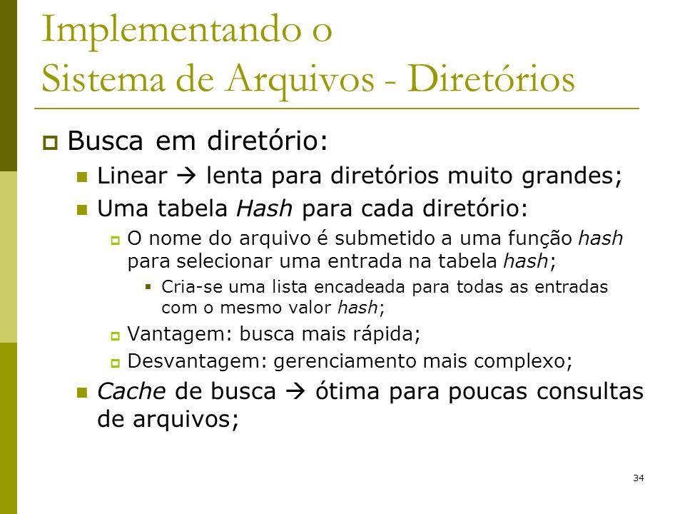 34 Implementando o Sistema de Arquivos - Diretórios Busca em diretório: Linear lenta para diretórios muito grandes; Uma tabela Hash para cada diretóri
