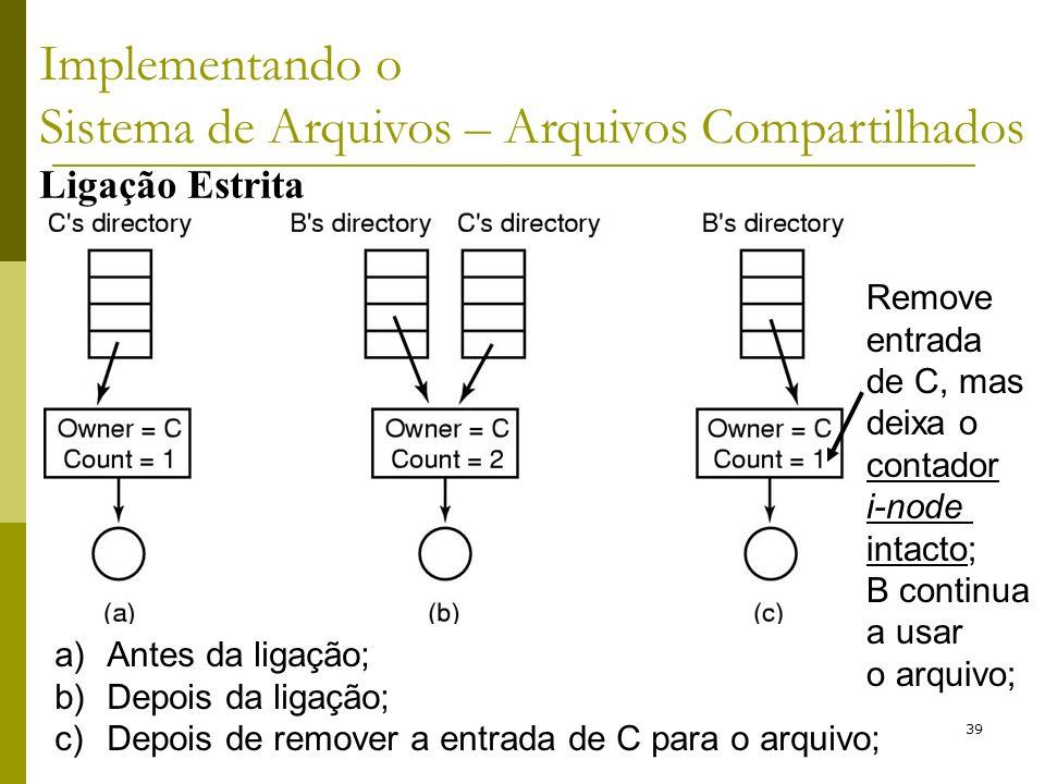 39 a)Antes da ligação; b)Depois da ligação; c)Depois de remover a entrada de C para o arquivo; Remove entrada de C, mas deixa o contador i-node intact