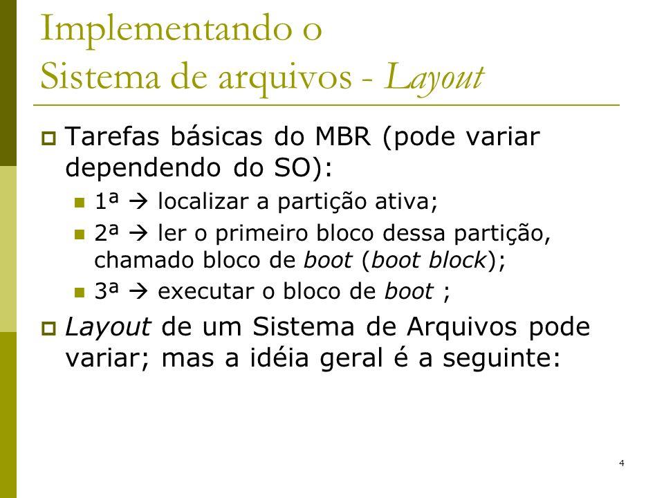 4 Implementando o Sistema de arquivos - Layout Tarefas básicas do MBR (pode variar dependendo do SO): 1ª localizar a partição ativa; 2ª ler o primeiro