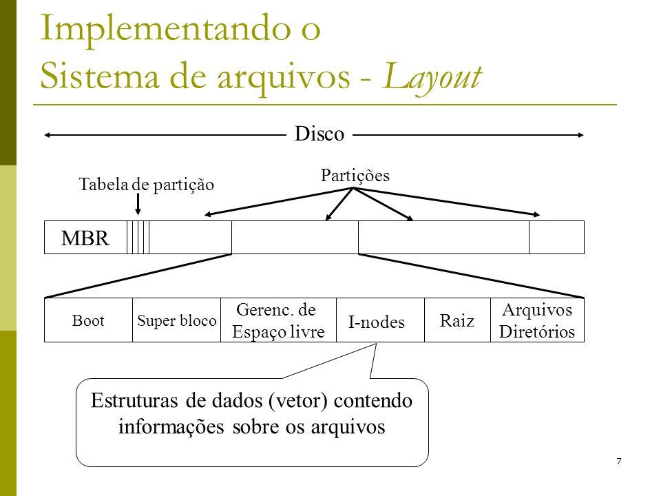 7 Implementando o Sistema de arquivos - Layout Estruturas de dados (vetor) contendo informações sobre os arquivos MBR Tabela de partição Partições Boo