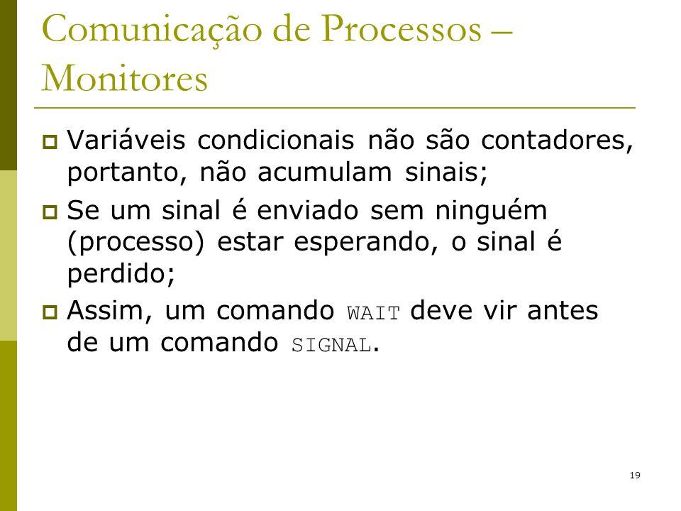 19 Comunicação de Processos – Monitores Variáveis condicionais não são contadores, portanto, não acumulam sinais; Se um sinal é enviado sem ninguém (p