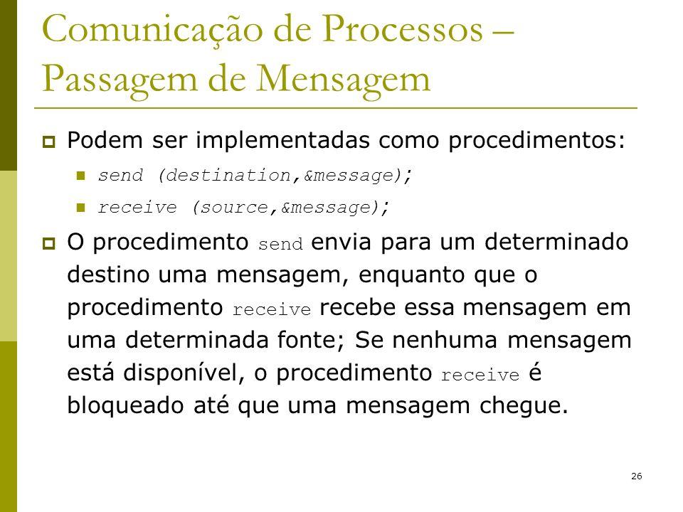 26 Comunicação de Processos – Passagem de Mensagem Podem ser implementadas como procedimentos: send (destination,&message) ; receive (source,&message)