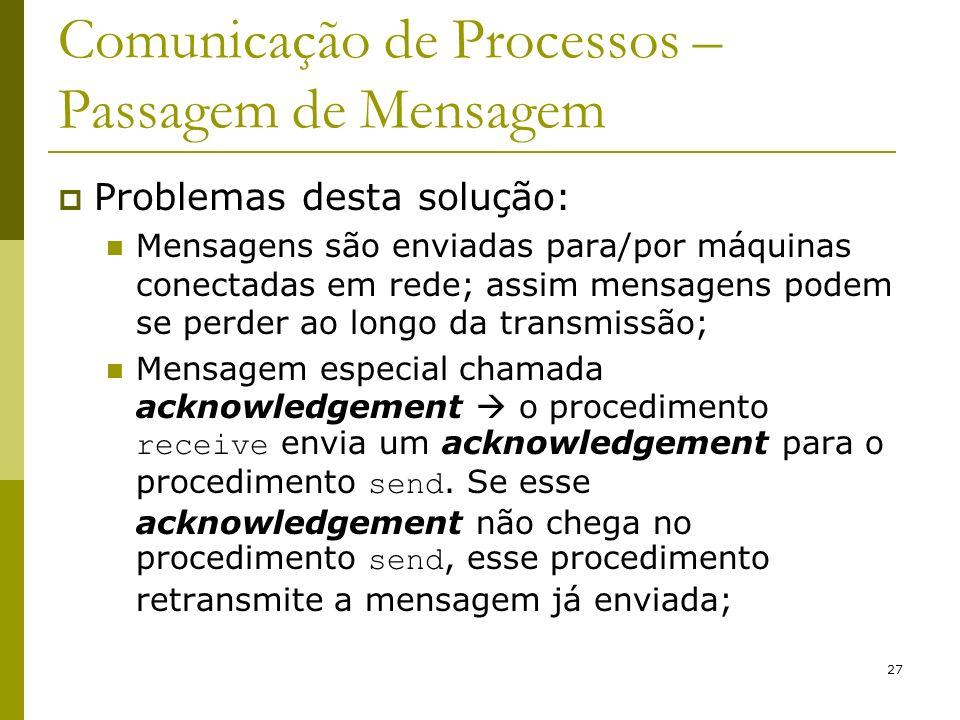 27 Comunicação de Processos – Passagem de Mensagem Problemas desta solução: Mensagens são enviadas para/por máquinas conectadas em rede; assim mensage