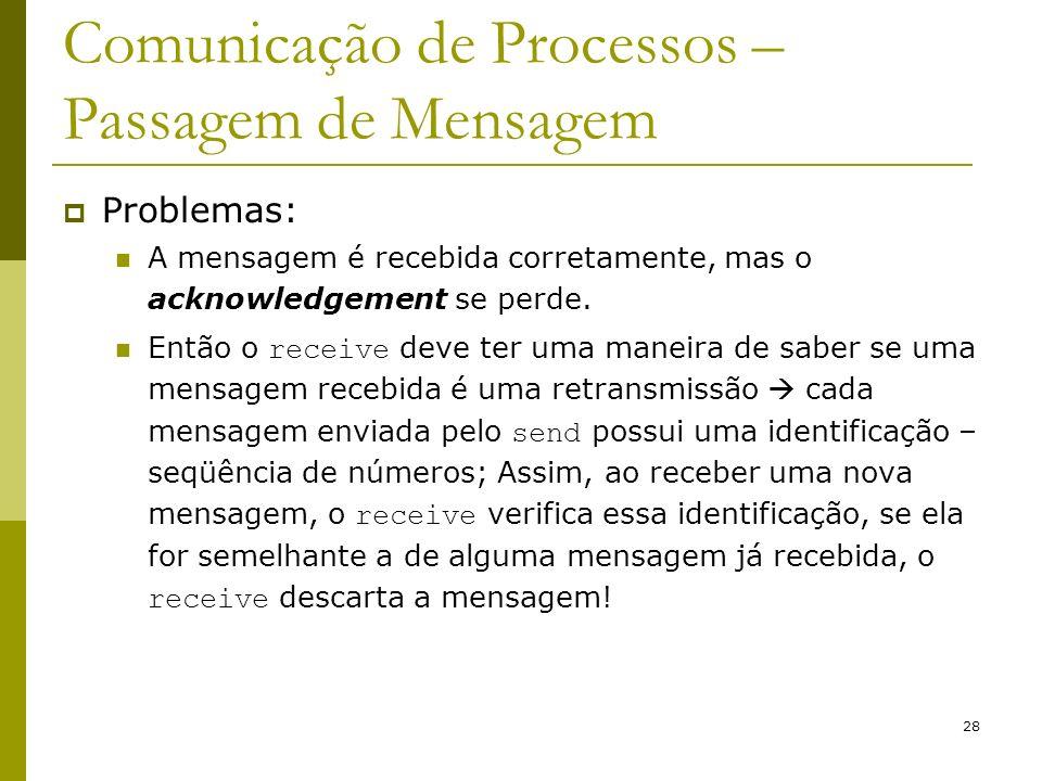 28 Comunicação de Processos – Passagem de Mensagem Problemas: A mensagem é recebida corretamente, mas o acknowledgement se perde. Então o receive deve