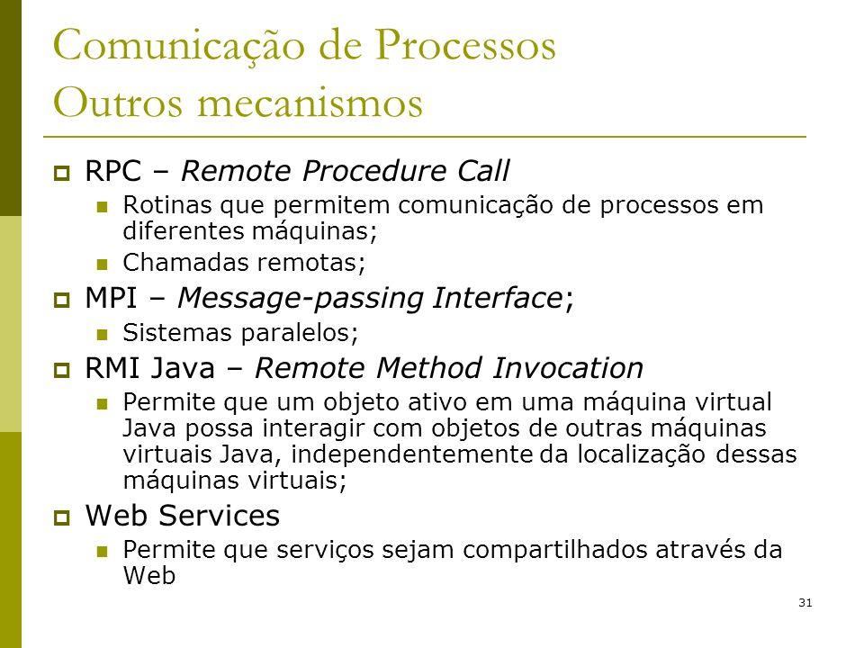 31 Comunicação de Processos Outros mecanismos RPC – Remote Procedure Call Rotinas que permitem comunicação de processos em diferentes máquinas; Chamad