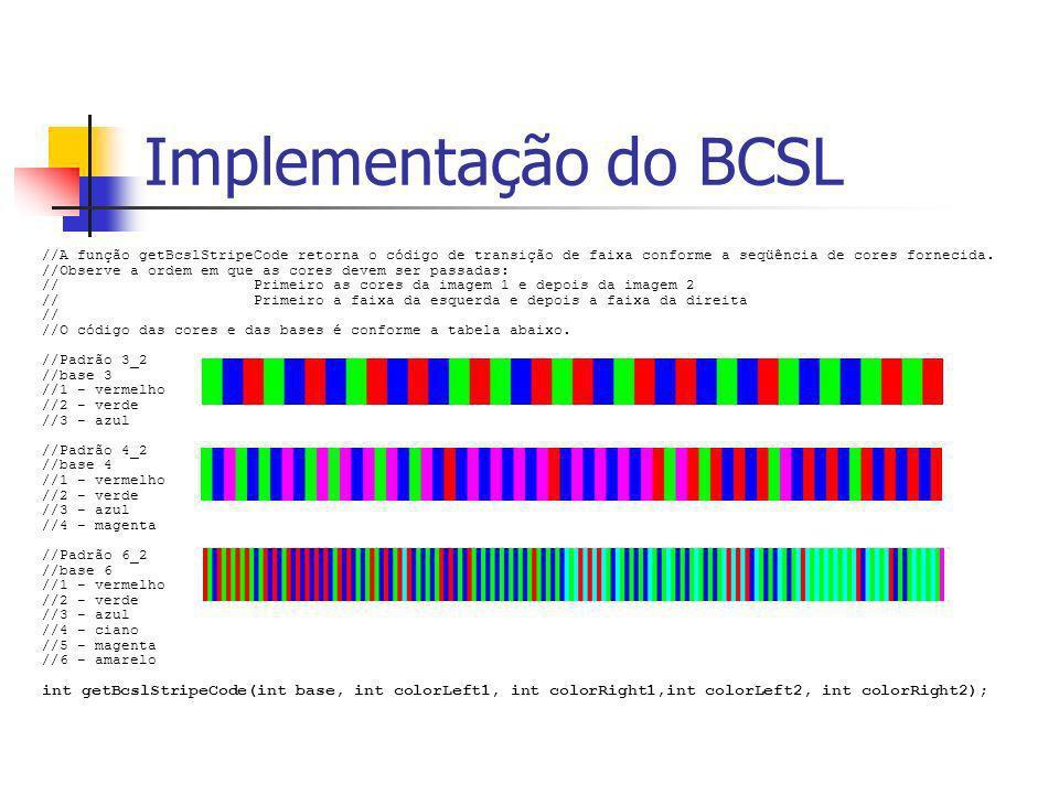 Implementação do BCSL //A função getBcslStripeCode retorna o código de transição de faixa conforme a seqüência de cores fornecida. //Observe a ordem e