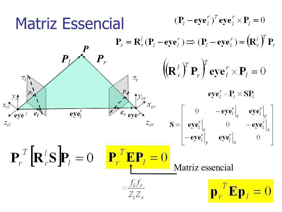 Matriz Essencial Matriz essencial eye l P eye r PlPl plpl x cl y cl z cl x cr y cr z cr prpr PrPr elel erer