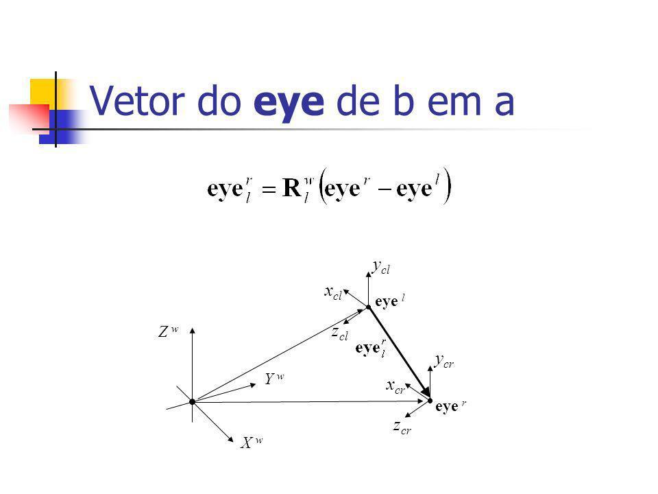 Vetor do eye de b em a X w Y w Z w eye l x cl y cl z cl x cr y cr z cr eye r