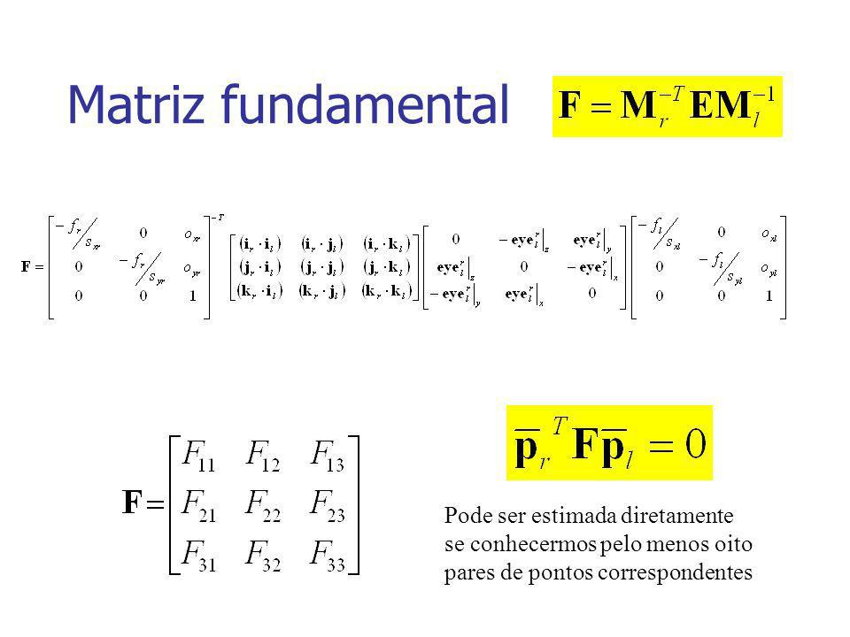 Pode ser estimada diretamente se conhecermos pelo menos oito pares de pontos correspondentes