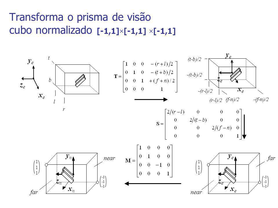 Transforma o prisma de visão cubo normalizado [-1,1]×[-1,1] ×[-1,1] xexe yeye zeze l r b t xexe yeye zeze -(r-l)/2 (r-l)/2 -(t-b)/2 (t-b)/2 (f-n)/2-(f
