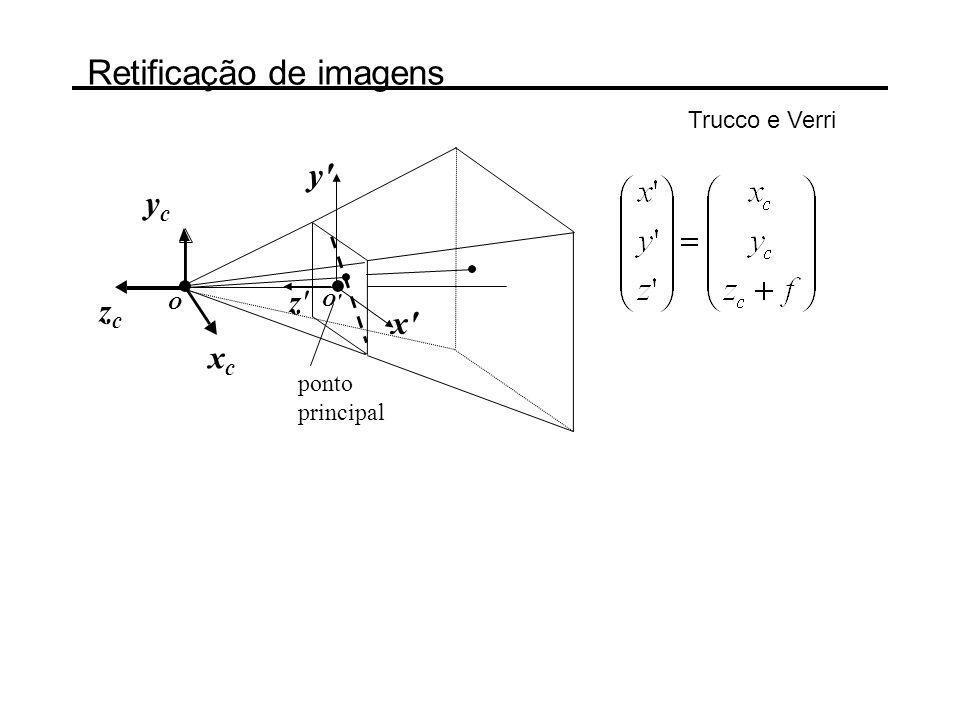 Retificação de imagens z'z' xcxc ycyc zczc y' x' O O' ponto principal Trucco e Verri