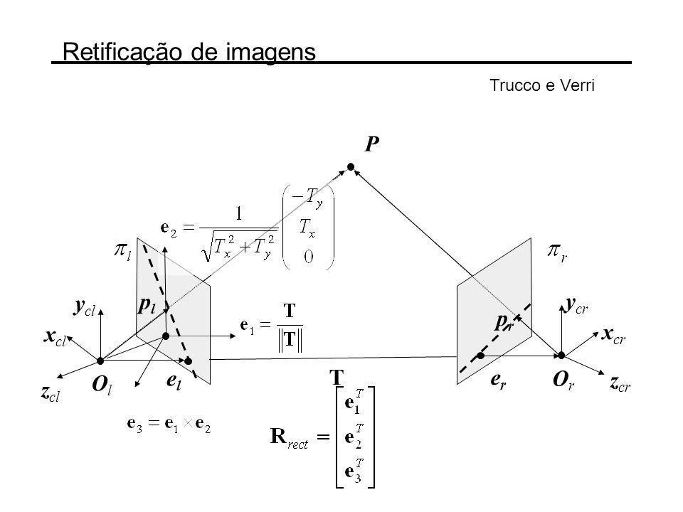Retificação de imagens OlOl P OrOr plpl x cl y cl z cl x cr y cr z cr prpr elel erer T Trucco e Verri