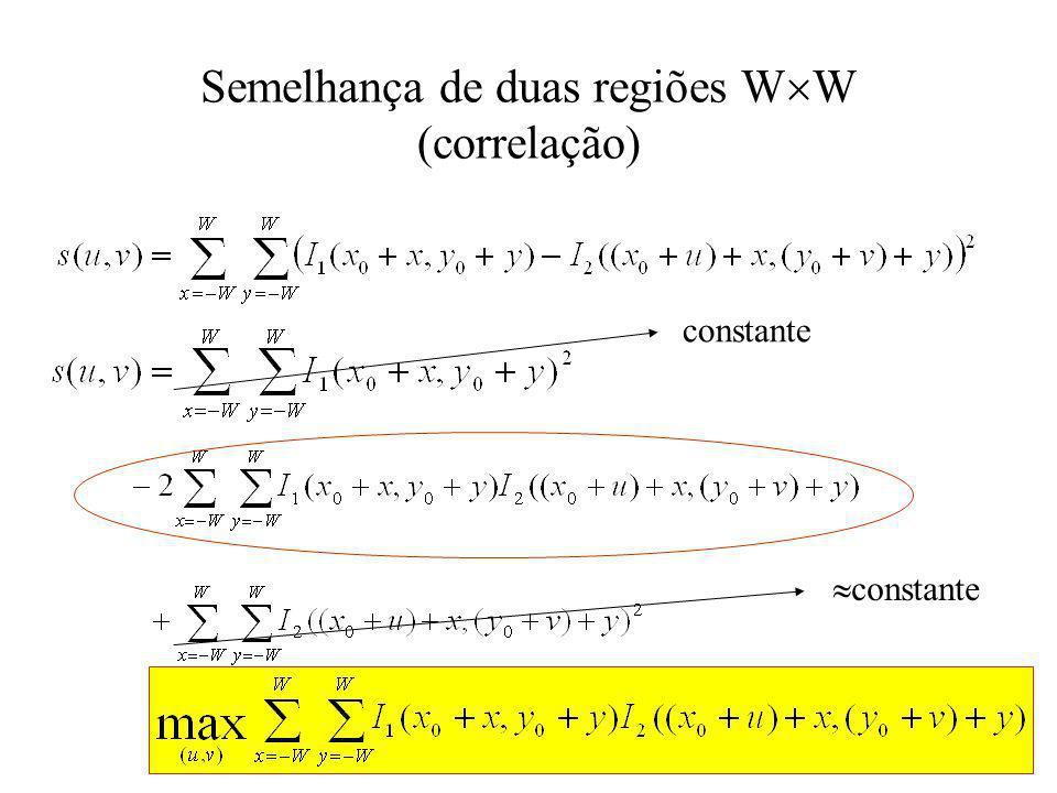 Semelhança de duas regiões W W (correlação) constante
