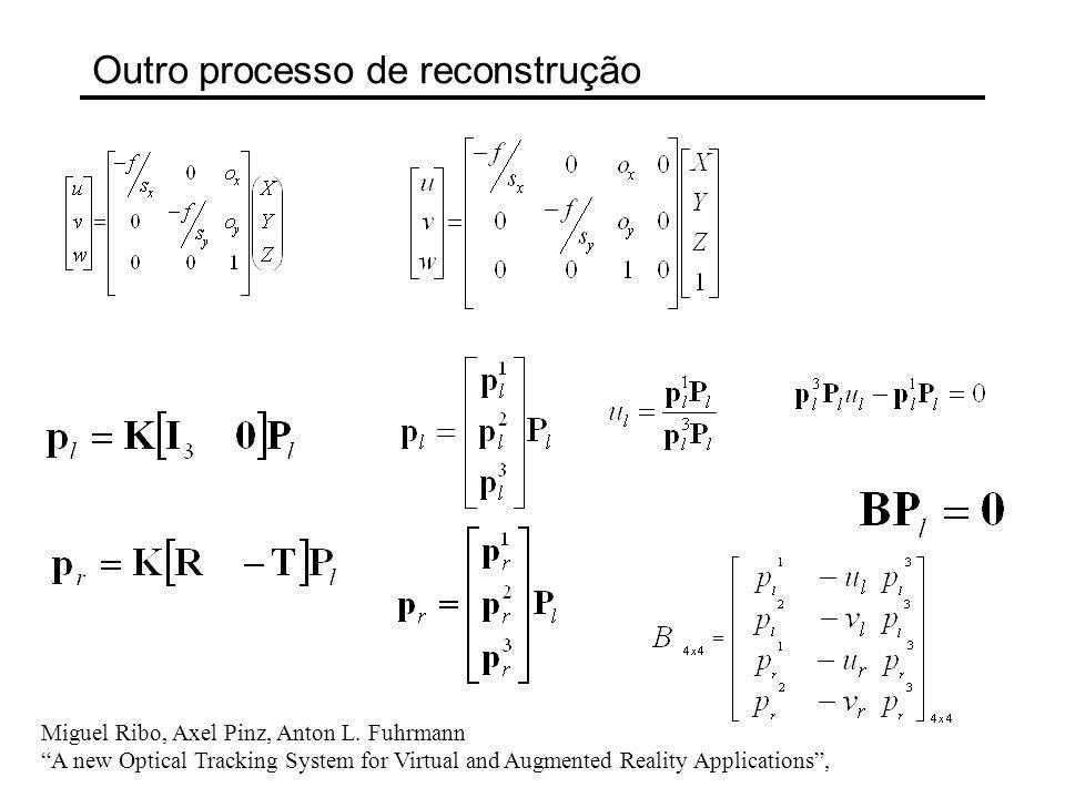 Outro processo de reconstrução Miguel Ribo, Axel Pinz, Anton L. Fuhrmann A new Optical Tracking System for Virtual and Augmented Reality Applications,