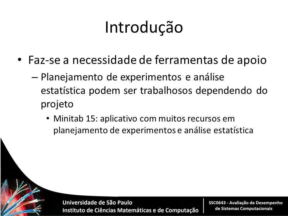 Introdução Faz-se a necessidade de ferramentas de apoio – Planejamento de experimentos e análise estatística podem ser trabalhosos dependendo do proje