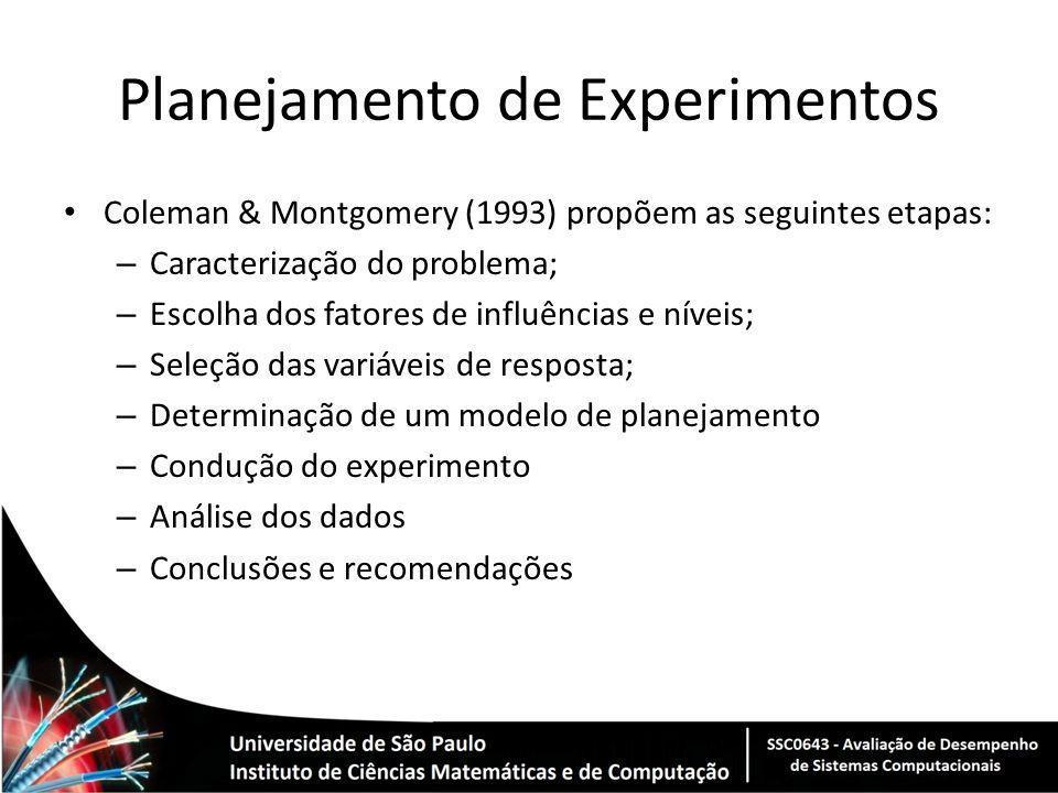 Planejamento de Experimentos Coleman & Montgomery (1993) propõem as seguintes etapas: – Caracterização do problema; – Escolha dos fatores de influênci