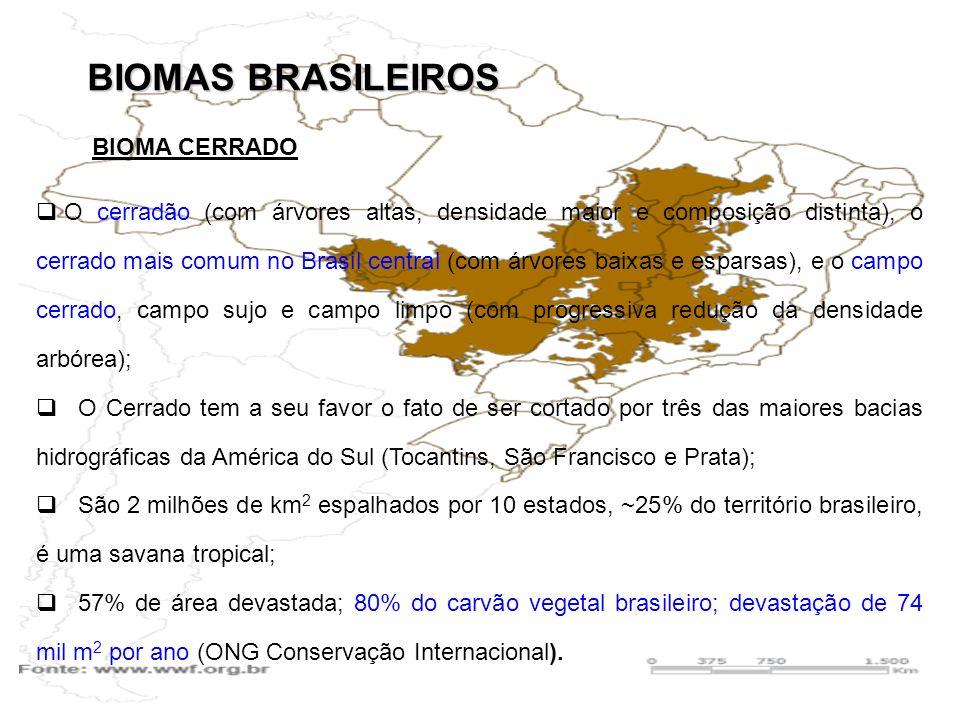 BIOMAS BRASILEIROS O cerradão (com árvores altas, densidade maior e composição distinta), o cerrado mais comum no Brasil central (com árvores baixas e