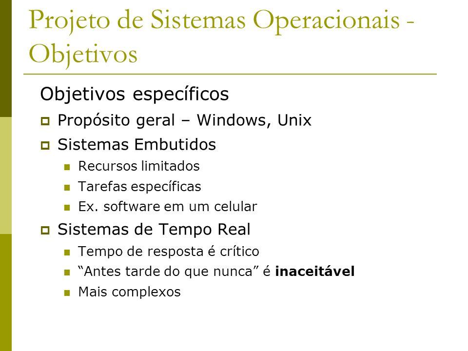 Projeto de Sistemas Operacionais - Objetivos Objetivos específicos Propósito geral – Windows, Unix Sistemas Embutidos Recursos limitados Tarefas espec