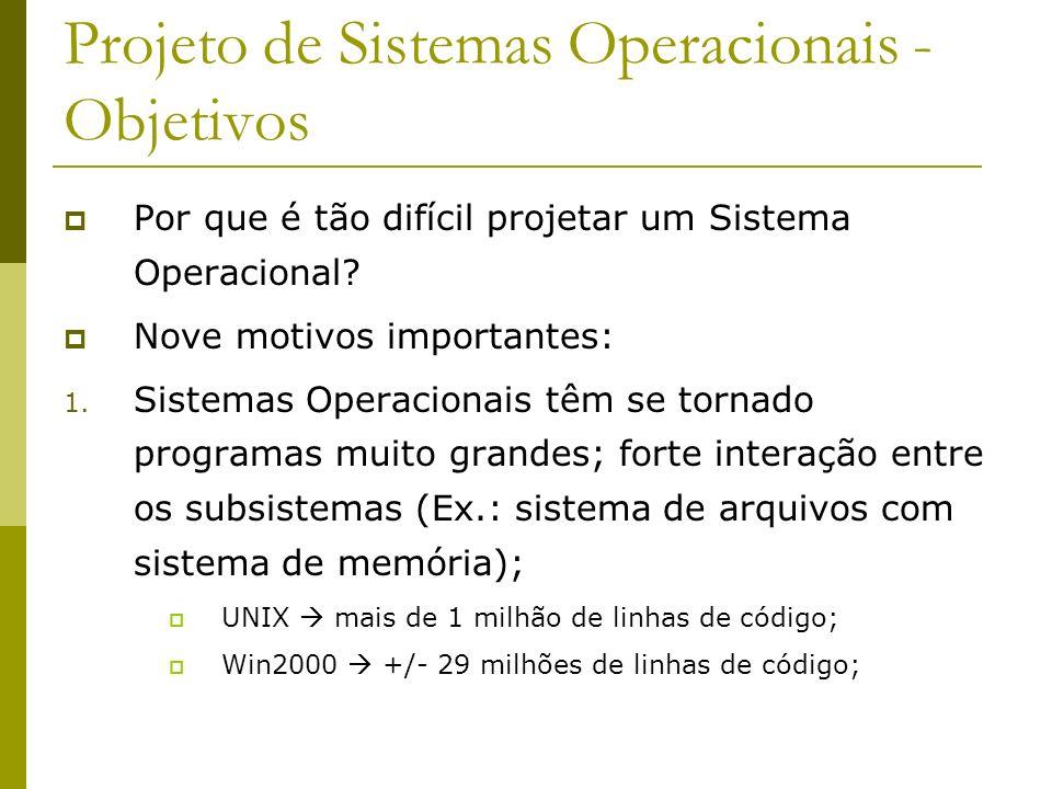 Projeto de Sistemas Operacionais - Objetivos Por que é tão difícil projetar um Sistema Operacional? Nove motivos importantes: 1. Sistemas Operacionais