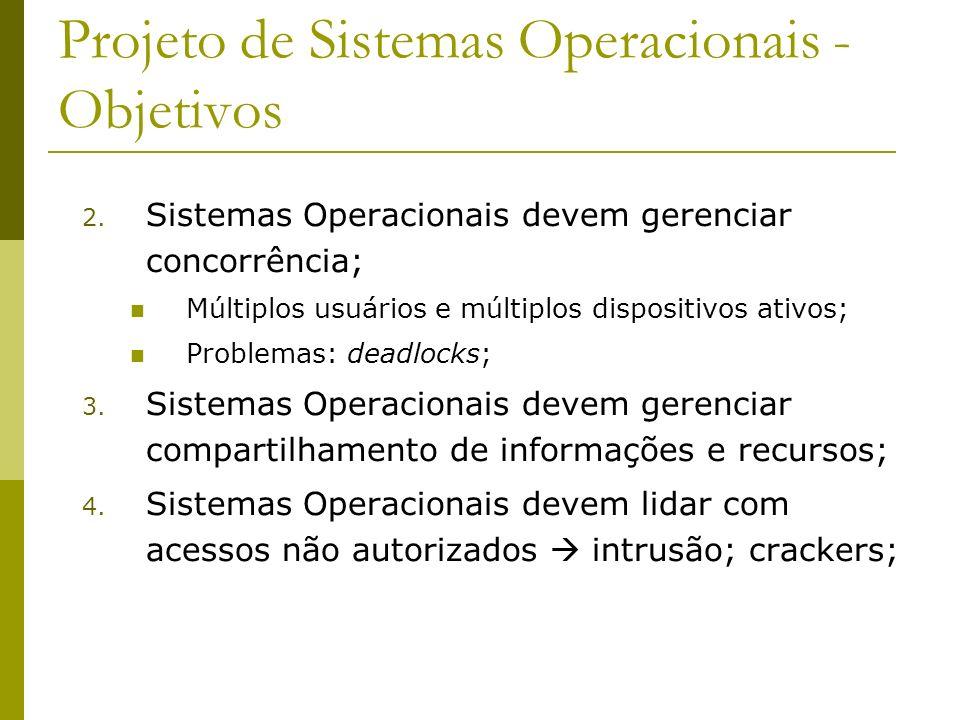 Projeto de Sistemas Operacionais - Objetivos 2. Sistemas Operacionais devem gerenciar concorrência; Múltiplos usuários e múltiplos dispositivos ativos