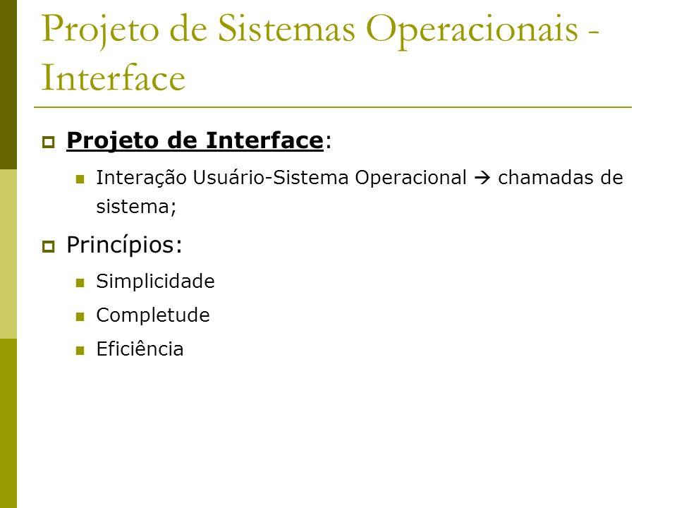 Projeto de Sistemas Operacionais - Interface Projeto de Interface: Interação Usuário-Sistema Operacional chamadas de sistema; Princípios: Simplicidade
