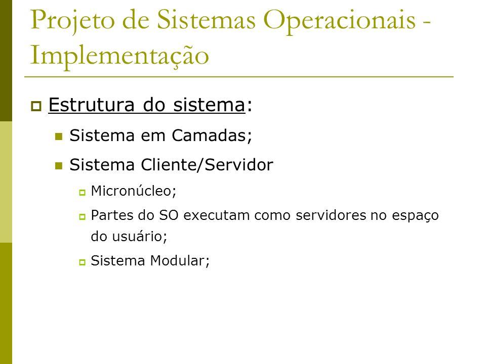 Projeto de Sistemas Operacionais - Implementação Estrutura do sistema: Sistema em Camadas; Sistema Cliente/Servidor Micronúcleo; Partes do SO executam