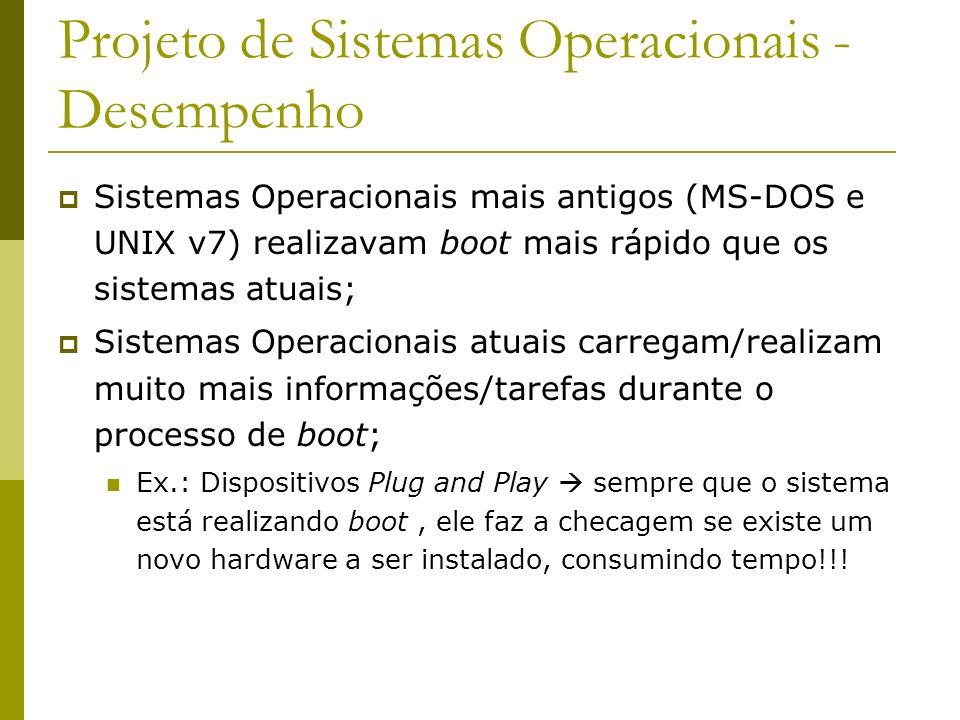 Projeto de Sistemas Operacionais - Desempenho Sistemas Operacionais mais antigos (MS-DOS e UNIX v7) realizavam boot mais rápido que os sistemas atuais