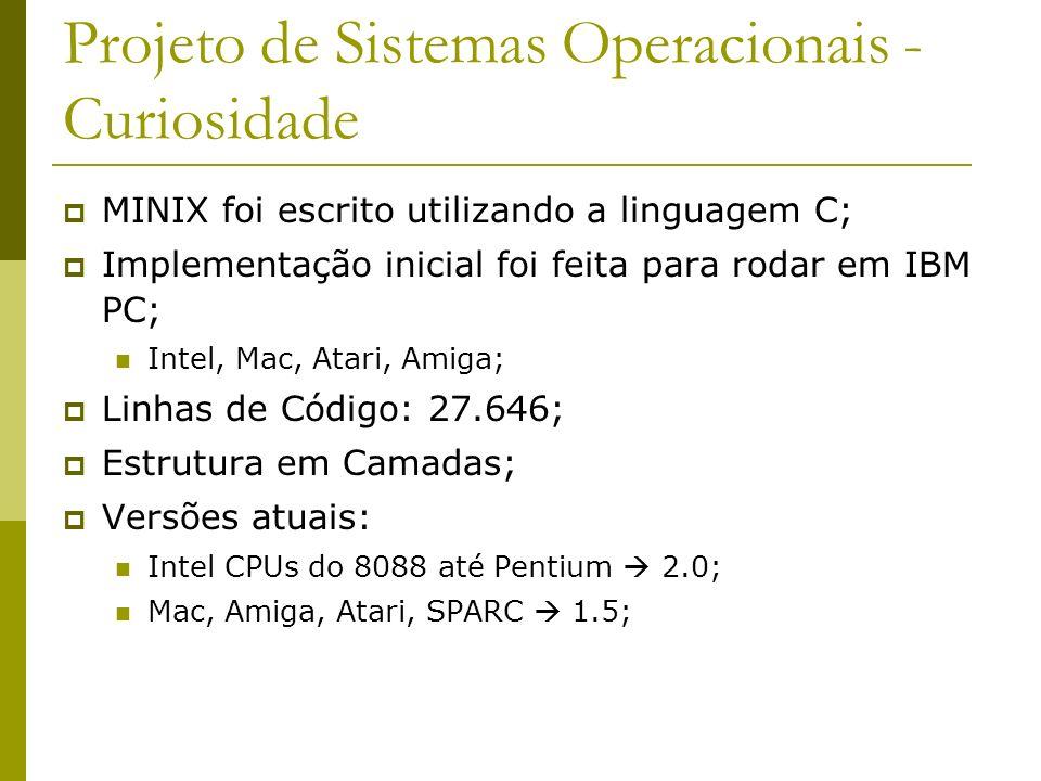 Projeto de Sistemas Operacionais - Curiosidade MINIX foi escrito utilizando a linguagem C; Implementação inicial foi feita para rodar em IBM PC; Intel