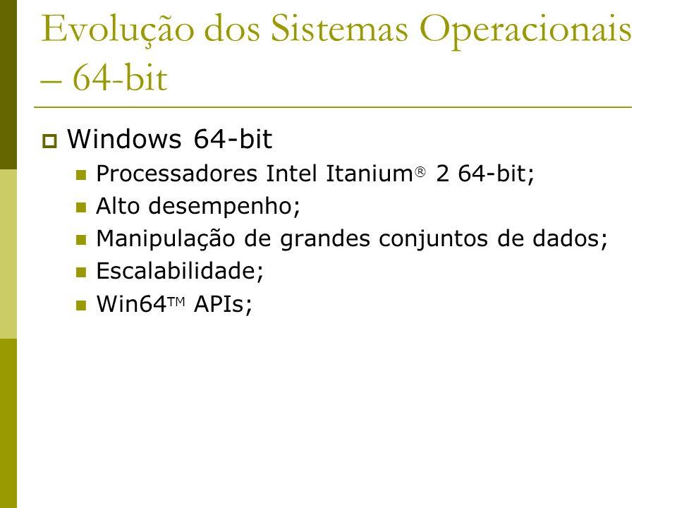 Evolução dos Sistemas Operacionais – 64-bit Windows 64-bit Processadores Intel Itanium ® 2 64-bit; Alto desempenho; Manipulação de grandes conjuntos d