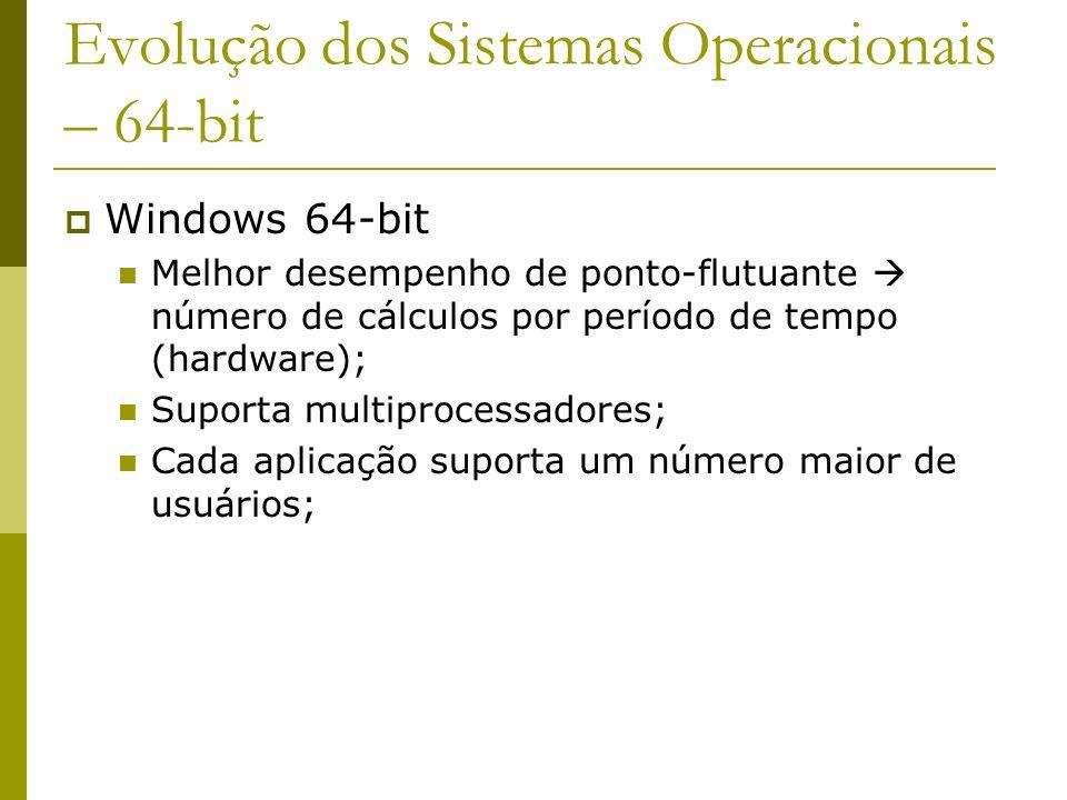 Evolução dos Sistemas Operacionais – 64-bit Windows 64-bit Melhor desempenho de ponto-flutuante número de cálculos por período de tempo (hardware); Su