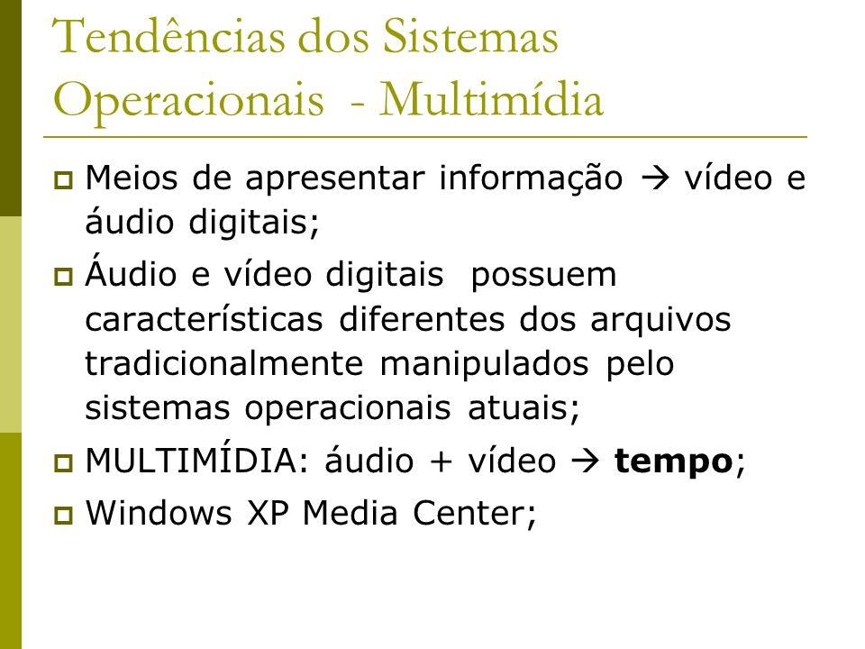 Tendências dos Sistemas Operacionais - Multimídia Meios de apresentar informação vídeo e áudio digitais; Áudio e vídeo digitais possuem característica