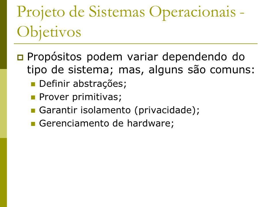 Projeto de Sistemas Operacionais - Objetivos Propósitos podem variar dependendo do tipo de sistema; mas, alguns são comuns: Definir abstrações; Prover