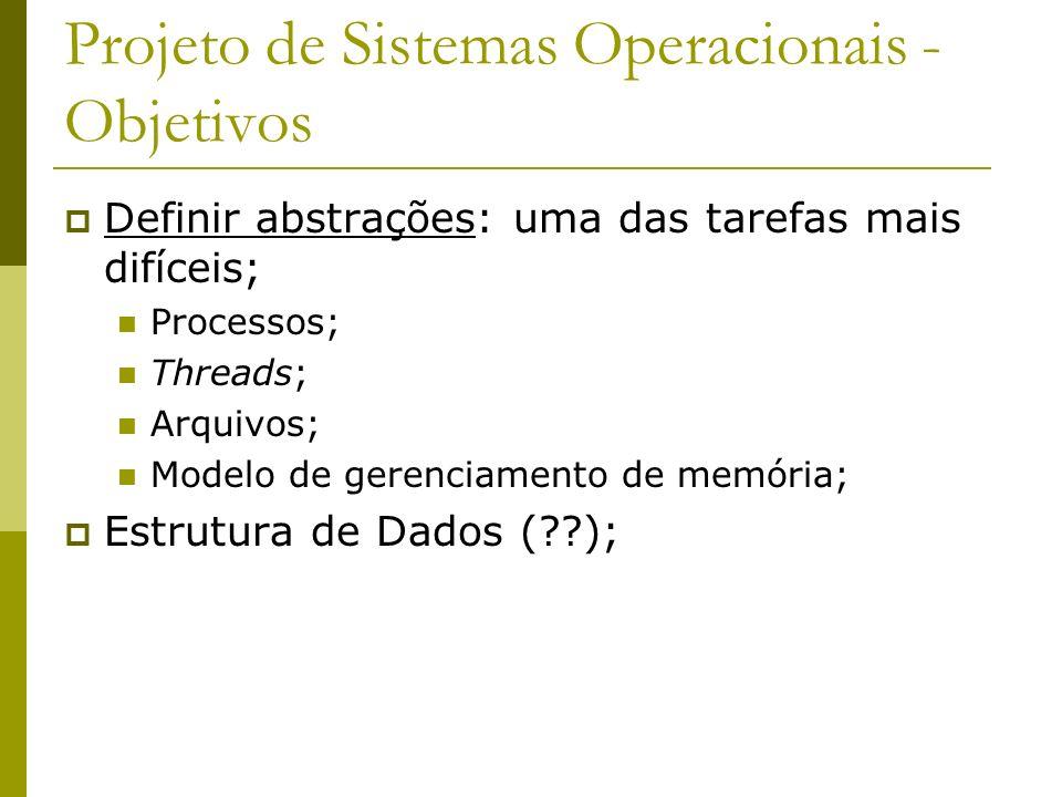 Projeto de Sistemas Operacionais - Objetivos Prover primitivas: quais operações primitivas são implementadas para manipular as abstrações; Chamadas de sistema; Exemplo Para abstração de arquivo – quais primitivas.