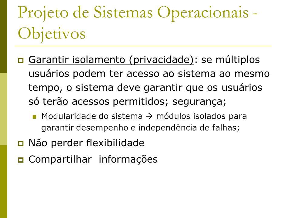 Projeto de Sistemas Operacionais - Objetivos Garantir isolamento (privacidade): se múltiplos usuários podem ter acesso ao sistema ao mesmo tempo, o si