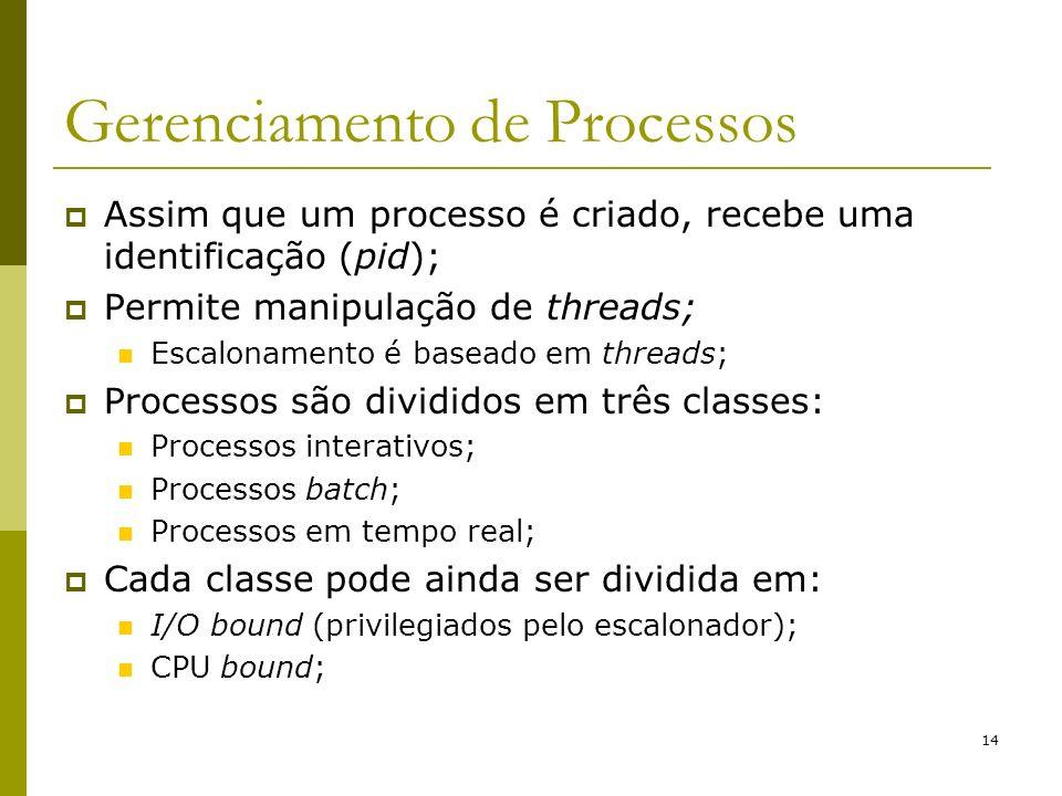 14 Gerenciamento de Processos Assim que um processo é criado, recebe uma identificação (pid); Permite manipulação de threads; Escalonamento é baseado